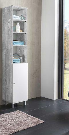 Kolomkast Benja 1 deur - wit/beton