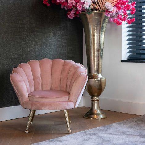 Kinderfauteuil Chor velours - roze