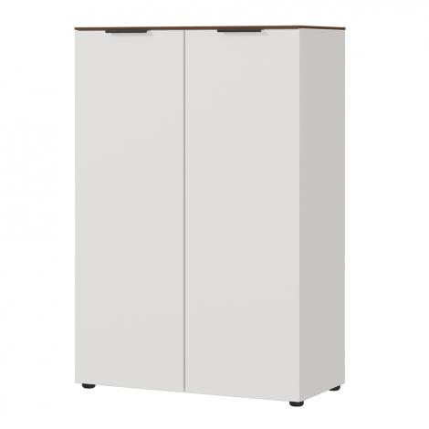 Lage opbergkast Anaelle 80cm met 2 deuren - wit/walnoot