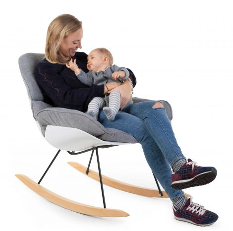 Lounge schommelstoel - wit/grijs