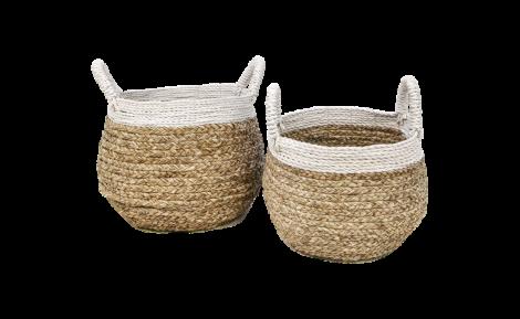 Mandenset - naturel / wit - raffia - set van 2