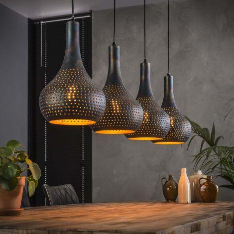 Hanglamp Cone 4 lampenkappen - zwart/bruin