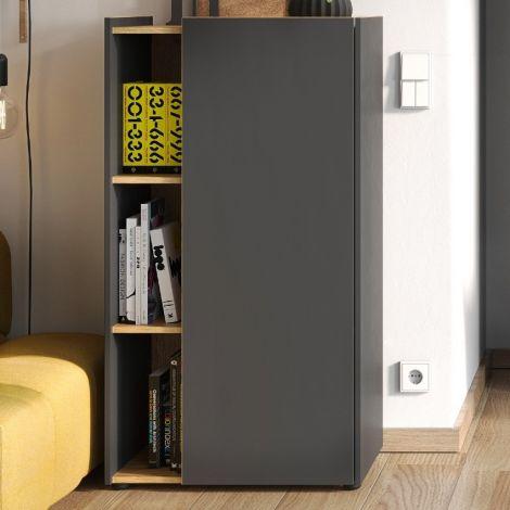 Dossierkast Ings 62 x 115cm - grafiet/eik