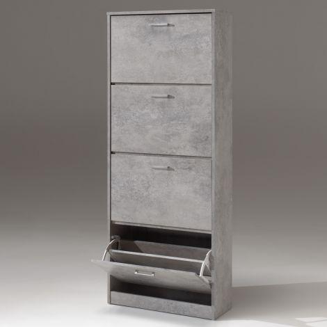 Schoenenkast Carini 4 laden - beton