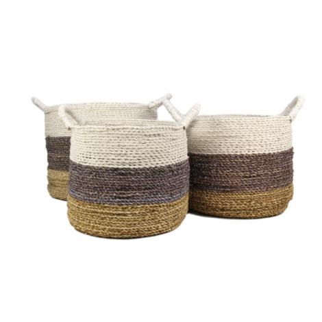 Set van 3 manden Malibu - naturel/paars/wit - raffia/zeegras