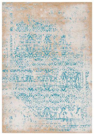 Vloerkleed Argentella Floral 150x80 Vintage - Turquoise/Goud