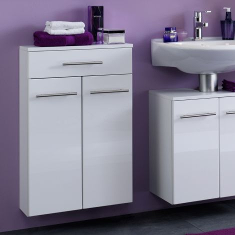 Badkamerkastje Small 50cm 1 lade & 2 deuren - hoogglans wit