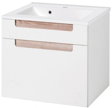 Wastafelkast Siena 60cm - wit/bruin