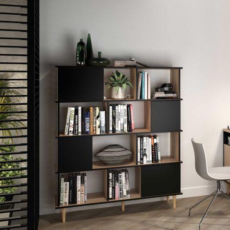 Boekenkast Nosk 120cm met 4 deuren - zwart/eik