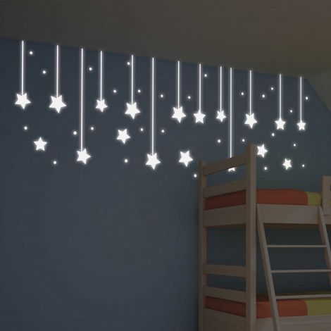 Muurstickers Hanging Stars Glow in the dark
