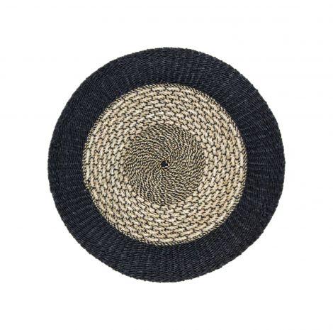 Vloerkleed Malibu ø120cm raffia/zeegras – naturel/zwart