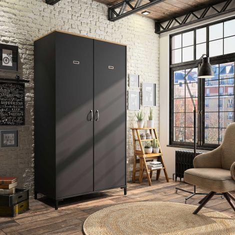 Kledingkast Manno 105 cm 2 deuren - zwart/Helvezia eik