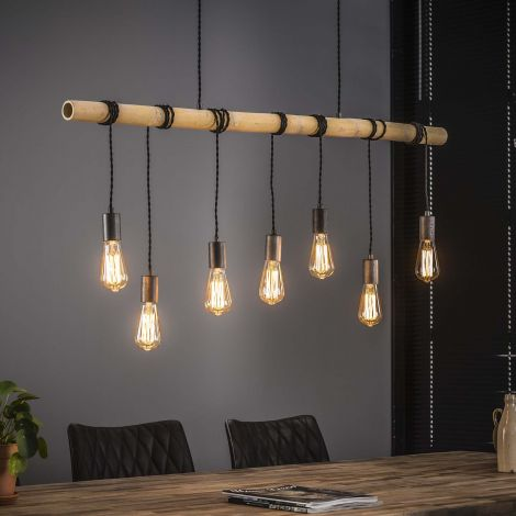 Hanglamp Serra Bamboe 7 lichtbronnen