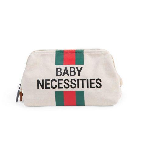 Toilettas Baby Necessities met strepen - ecru/groen