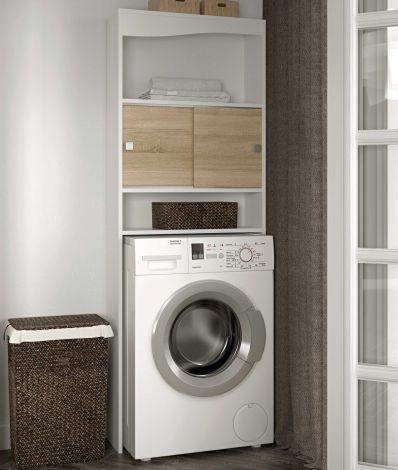 Kast voor wasmachine/toilet Splash - wit/eik