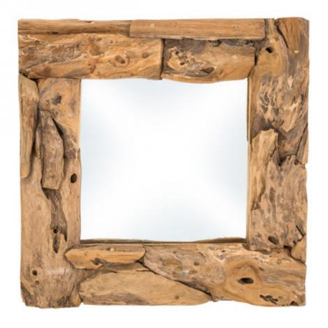 Wandspiegel Root 50x50cm vierkant – teak/wortelhout