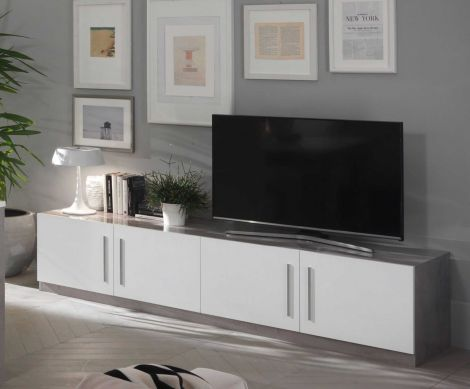 Tv-meubel Greta 208 cm - beton/wit
