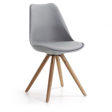 Set van 4 stoelen Ralf hout/kunststof - lichtgrijs