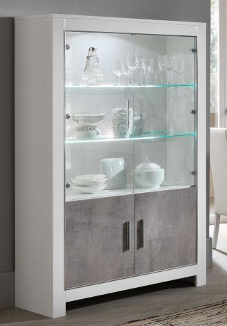 Vitrinekast Modena 4 deuren - wit/beton