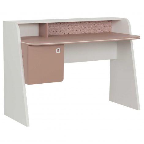 Bureau May roze/wit met deurtje - voor kinderkamer