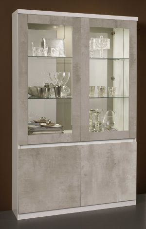 Vitrinekast Roma 4 deuren - wit/beton