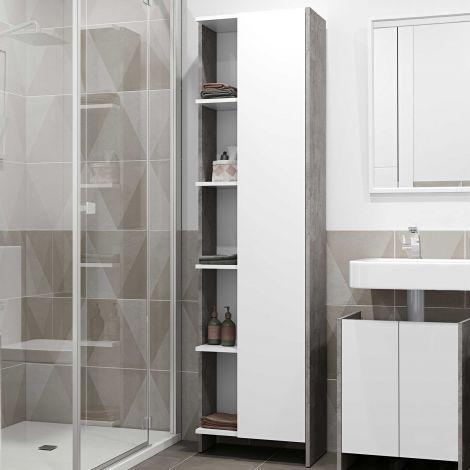 Kolomkast Biarritz 1 deur - wit/beton