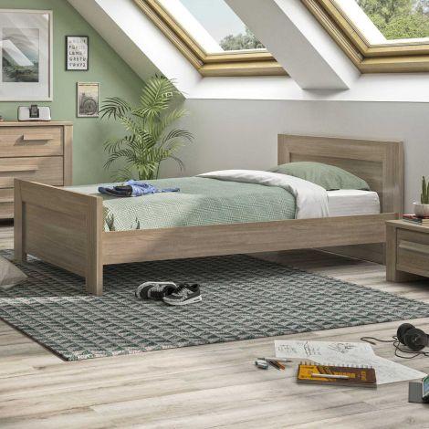 Eenpersoonsbed Haron 90x200 - grijze eik