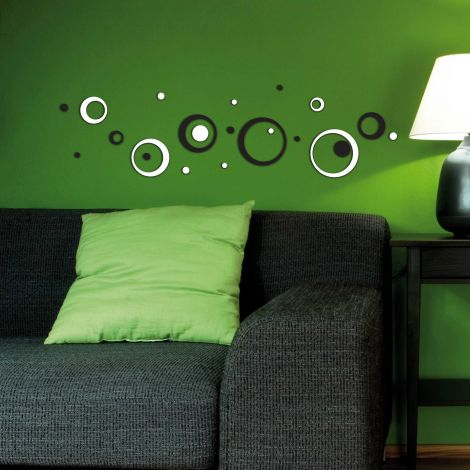 Muurstickers 3D Black & White Circles - schuimsticker