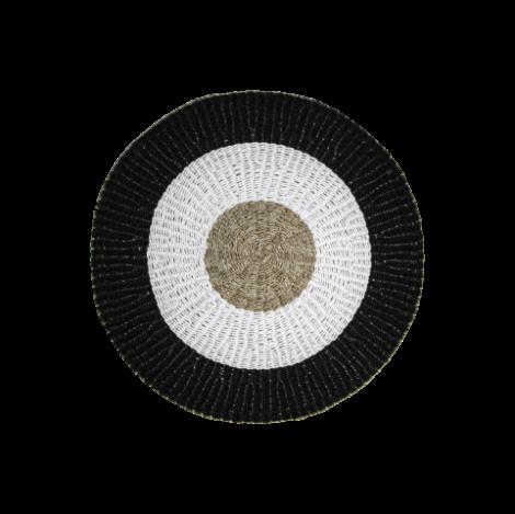 Vloerkleed Malibu ø120cm raffia/zeegras – naturel/wit/zwart