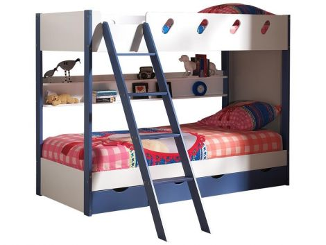 Stapelbed Max 90 met lades - blauw/wit