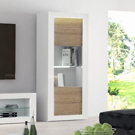 Vitrinekast Kaia 80cm 1 deur - hoogglans wit/eik
