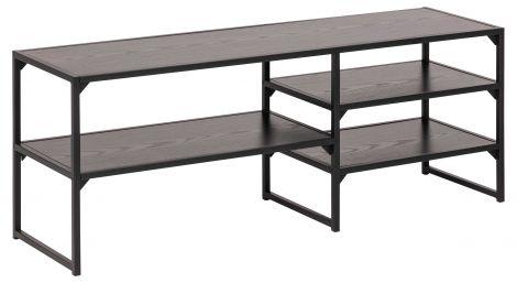 Tv-meubel Dover 120cm 3 legplanken industrieel - zwart