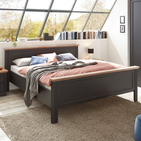 Bed Jacco 180x200 - grafiet/eik
