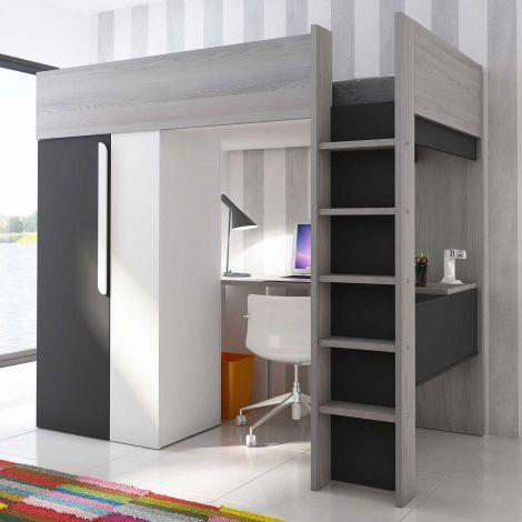Hoogslaper Beau met bureau en kast of kledingkast - Grafiet / grijs