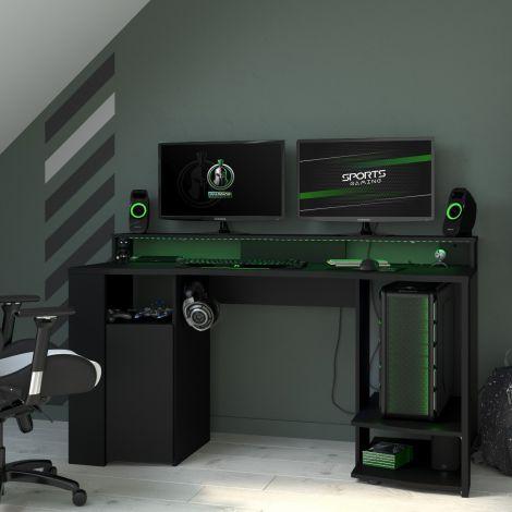 Bureau Gaming 152cm met ledstrip - zwart