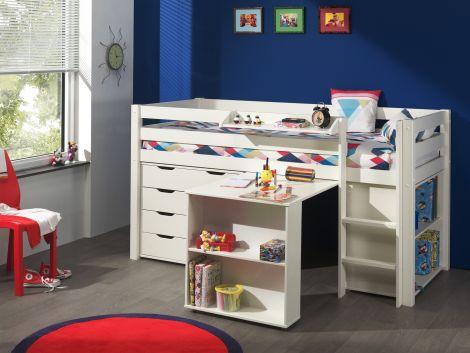 Halfhoogslaper Charlotte met bureau, bibliotheek en ladekast - wit