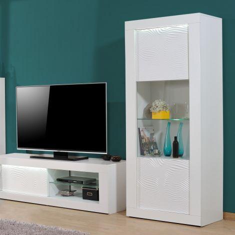 Vitrinekast Kaia 80cm 1 deur - hoogglans wit