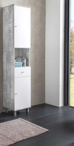 Kolomkast Benja 2 deuren & 1 lade - wit/beton