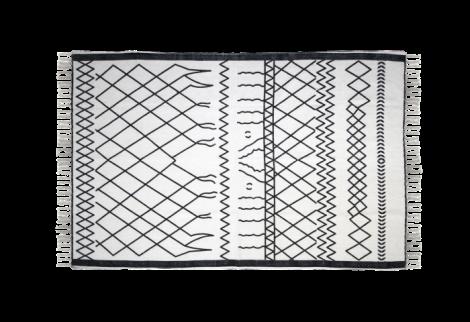 Vloerkleed - katoen - 120x70 cm - zwart / wit