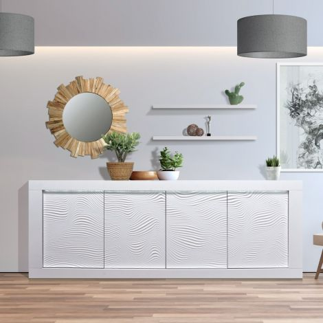 Dressoir Kaia 220cm 4 deuren - hoogglans wit