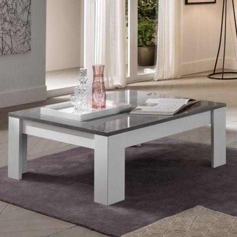Salontafel Modena 126x67 - wit/beton