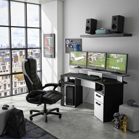 Gaming bureau Escape met ledstrip - antracietgrijs/wit