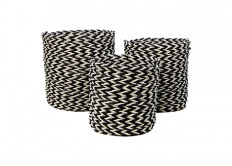 Set van 3 manden Marwa - zwart/wit - raffia/zeegras