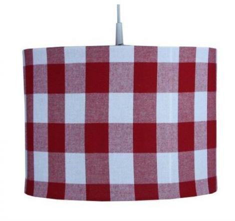 Hanglamp BB ruitjes marine rood