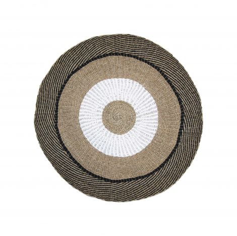 Vloerkleed Malibu ø150cm raffia/zeegras – naturel/wit/zwart
