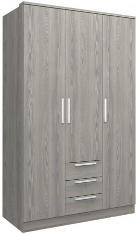 Kledingkast Ramos 120cm met 3 deuren & 3 laden - grijze es
