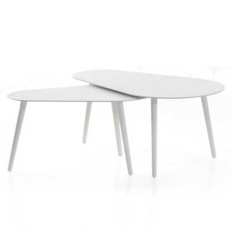 Set van 2 salontafels voor buiten Equator/Gabon - wit