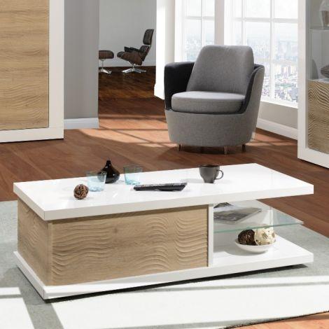 Salontafel Kaia 120x60 - hoogglans wit/eik