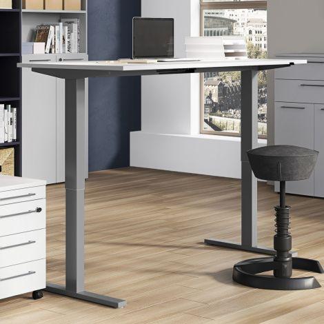 Zit-sta bureau Osmond 180cm elektrisch verstelbaar - lichtgrijs/zilver