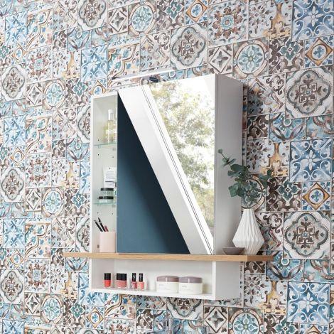 Spiegelkast Nove Mila 90 cm - wit/eik